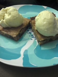 Butterscotch Bars with Homemade French Vanilla Ice Cream